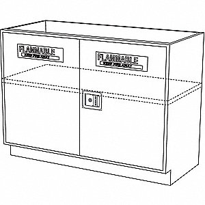 "36"" x 21-5/8"" x 35-1/4"" Steel Solvent Cabinet, Pearl White"