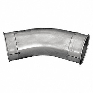 "Galvanized Steel 45 Degree Elbow, 6"" Duct Fitting Diameter, 12"" Duct Fitting Length"