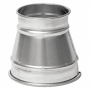 "Galvanized Steel Reducer, 5"" x 4"" Duct Fitting Diameter, 7"" Duct Fitting Length"