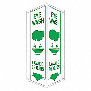 "Safety Sign,  Eye Wash/Lavado De Ojos,  Header No Header,  V-Shaped,  18"" Height,  8"" Width"