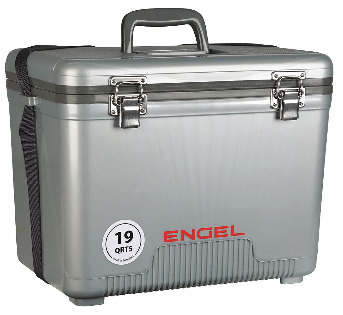 Plastic,  19.0 qt,  Marine Chest Cooler,  Up to 10 days Ice Retention,  Silver