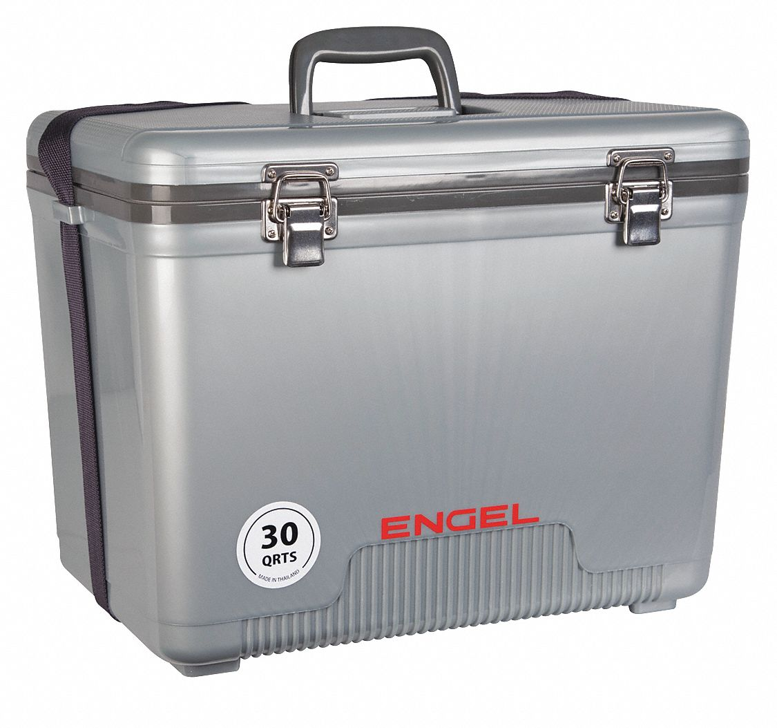Plastic,  30.0 qt,  Marine Chest Cooler,  Up to 1 day Ice Retention,  Silver