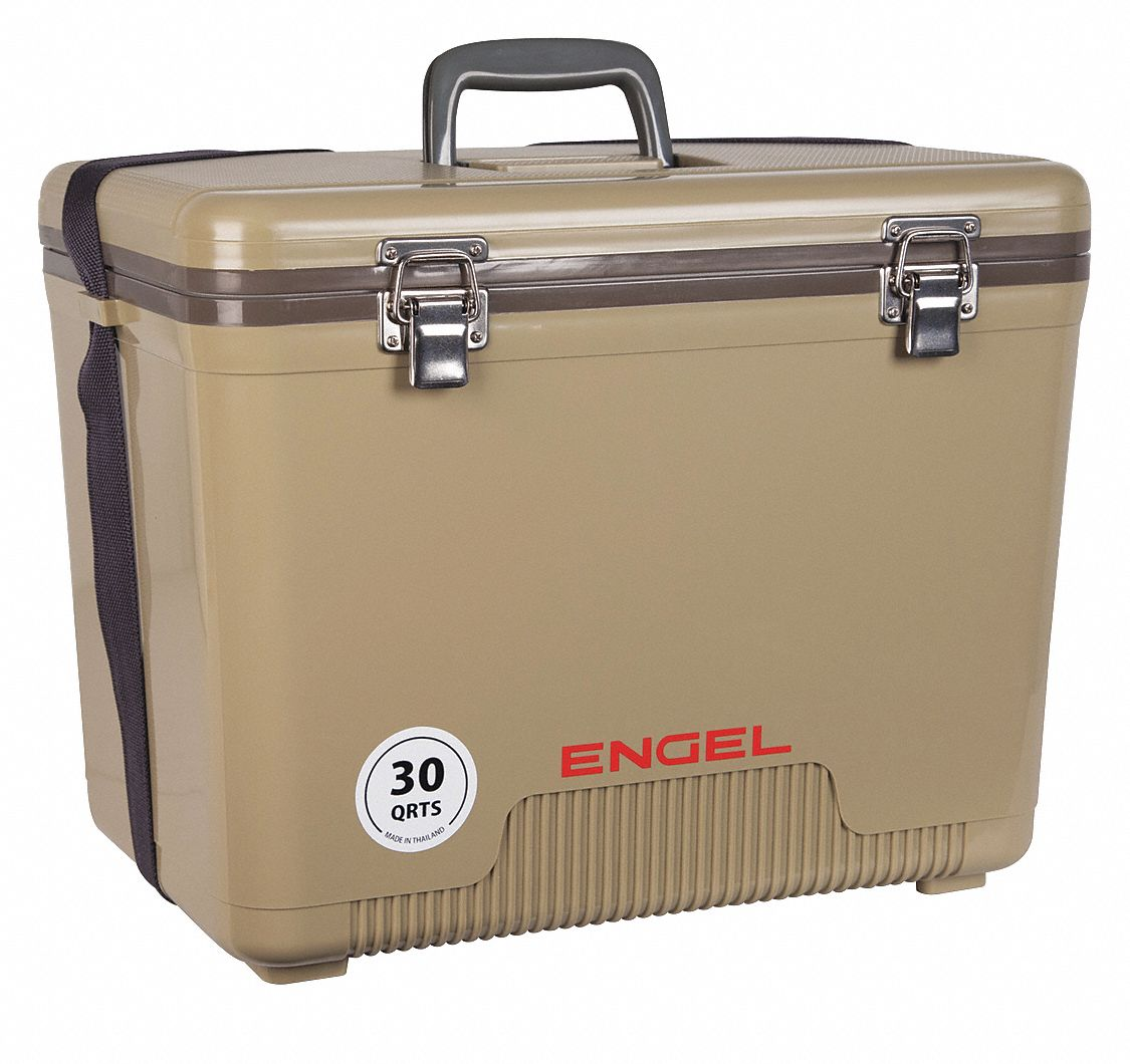 Plastic,  30.0 qt,  Marine Chest Cooler,  Up to 10 days Ice Retention,  Tan