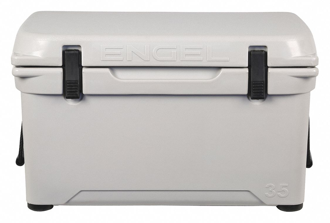 Plastic,  35.0 qt,  Marine Chest Cooler,  Up to 8 days Ice Retention,  Gray