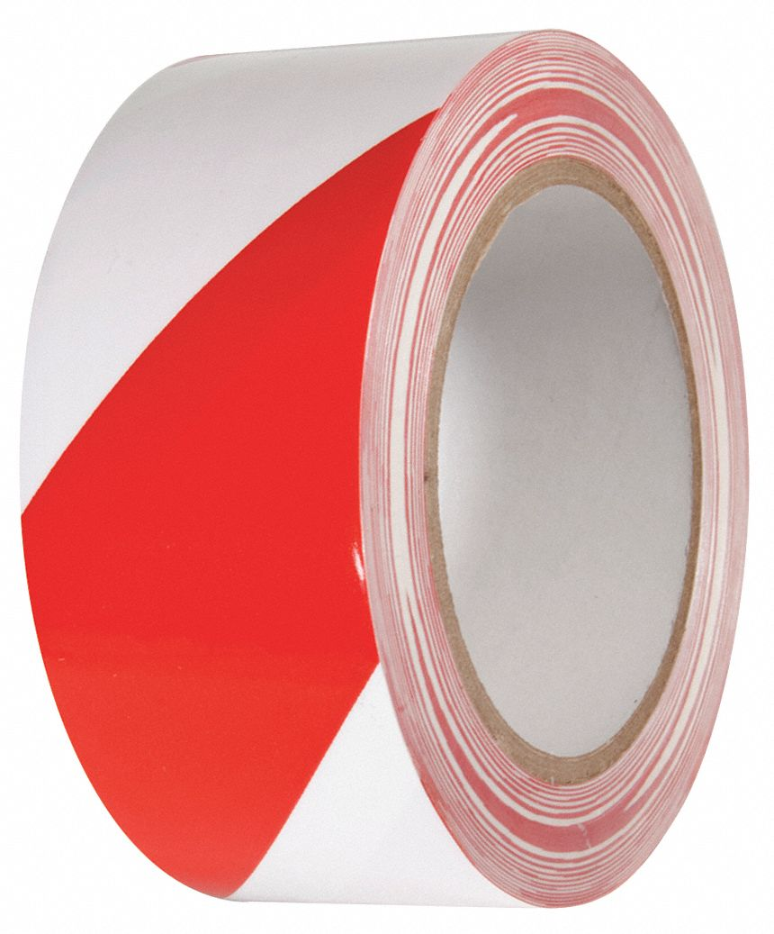 Marking Tape, Striped, Continuous Roll, 2 in Width, 1 EA