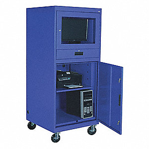 30 X 70 Steel Mobile Computer Cabinet Blue