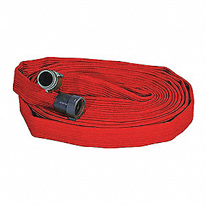 "Attack Line Fire Hose, Single Jacket, 1-1/2"" Hose Inside Dia., 100 ft., Red"