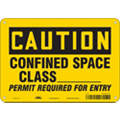 "Confined Space, Caution, Aluminum, 7"" x 10"", With Mounting Holes, Not Retroreflective"