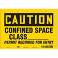 "Confined Space, Caution, Vinyl, 7"" x 10"", Adhesive Surface, Not Retroreflective"
