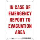 In Case Of Emergency Report To Evacuation Area Signs