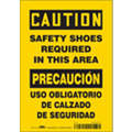 "Personal Protection, Caution/Precaucion, Vinyl, 10"" x 7"", Adhesive Surface, Not Retroreflective"