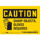 Caution: Sharp Objects, Gloves Required Signs