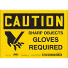 Caution: Sharp Objects Gloves Required Signs