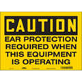 "Personal Protection, Caution, Vinyl, 10"" x 14"", Adhesive Surface, Not Retroreflective"