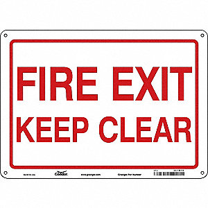 Sign, Fire Exit Keep Clear, 10x14