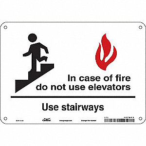 "Aluminum,  Safety Sign Emergency Exit,  10"" Width,  7"" Height,  Double-Sided No"