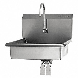 Stainless Steel Hand Sink, With Faucet, Wall Mounting Type, Stainless