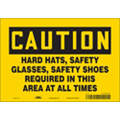 "Personal Protection, Caution, Vinyl, 7"" x 10"", Adhesive Surface, Not Retroreflective"