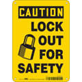 "Lockout Tagout, Caution, Aluminum, 10"" x 7"", With Mounting Holes, Not Retroreflective"
