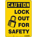 "Lockout Tagout, Caution, Aluminum, 14"" x 10"", With Mounting Holes, Not Retroreflective"