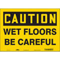 "Accident Prevention, Caution, Vinyl, 10"" x 14"", Adhesive Surface, Not Retroreflective"