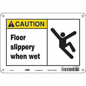 "Safety Sign,  Floor Slippery When Wet,  Header Caution,  Rectangle,  7"" Height,  10"" Width"