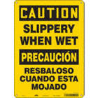 Caution/Precaucion: Slippery When Wet/Resbaloso Cuando Esta Mojado Signs