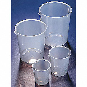 Plastic Beaker, Low Form, 100 to 2000mL, 1 EA