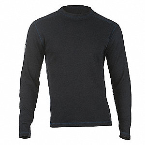 "Navy Flame-Resistant Crewneck Shirt, Size: XS, Fits Chest Size: 32"" to 34"", 9.5 cal./cm2 ATPV Rating"