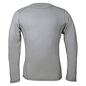 "Heather Gray Flame-Resistant Crewneck Shirt, Size: LT, Fits Chest Size: 41"" to 44"", 9.5 cal./cm2 ATP"