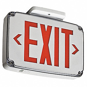 1 Face LED Exit Sign, White Plastic Housing, Red Letter Color