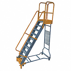 "12-Step Rolling Ladder, Open Grip Step Tread, 162"" Overall Height, 1000 lb. Load Capacity"