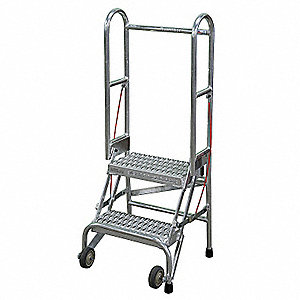 "2-Step Folding Rolling Ladder, Serrated Step Tread, 50"" Overall Height, 350 lb. Load Capacity"