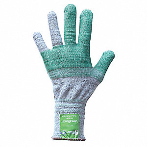 Cut Resistant Glove, ANSI/ISEA Cut Level 4, HPPE, Steel, Fiberglass, Polyester Lining, Gray/Green, L