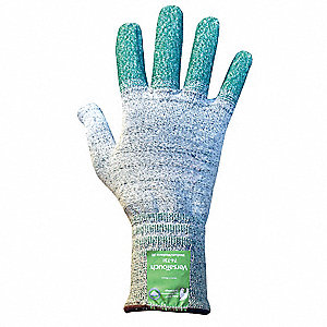 Uncoated Cut Resistant Glove, ANSI/ISEA Cut Level 4, Dyneema® Lining, Gray, Green, 9, EA 1