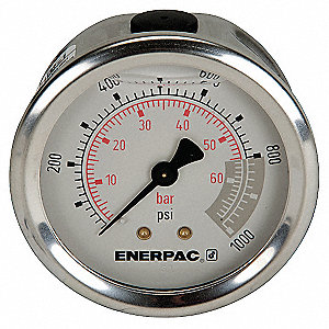 "Pressure Gauge, Liquid Filled Gauge Type, 0 to 1000 psi Range, 2-1/2"" Dial Size"