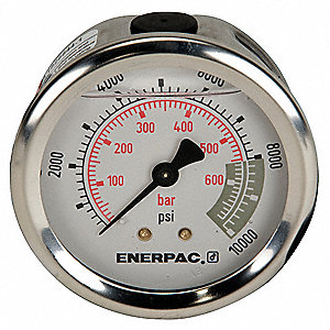 "Pressure Gauge, Liquid Filled Gauge Type, 0 to 10,000 psi Range, 2-1/2"" Dial Size"