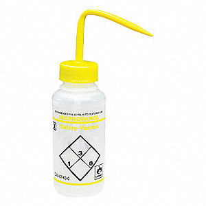 Wash Bottle,Std 8 oz,Isopropanol,YW,PK3