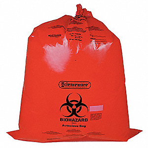 25 to 35 gal. Red Biohazard Bags, Super Heavy Strength Rating, Box, 1 EA