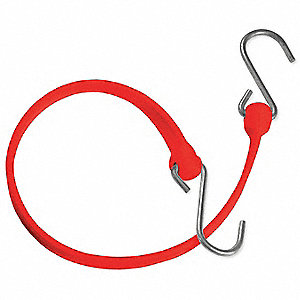 Red Polyurethane Bungee Strap with S-Hooks, Bungee Length: 12""