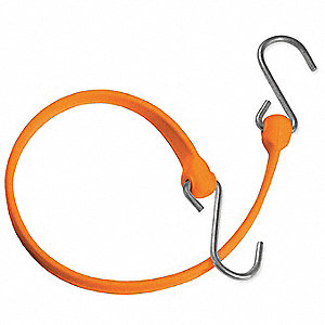 Orange Polyurethane Bungee Strap with S-Hooks, Bungee Length: 12""