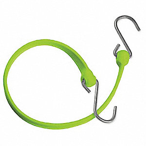 Safety Green Polyurethane Bungee Strap with S-Hooks, Bungee Length: 24""