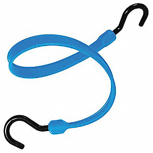 Blue Polyurethane Bungee Strap with J-Hooks, Bungee Length: 12""