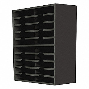 "24"" x 14"" x 32"" 20-Compartment Pocket Sorter with 5 lb. Load Capacity, Black"
