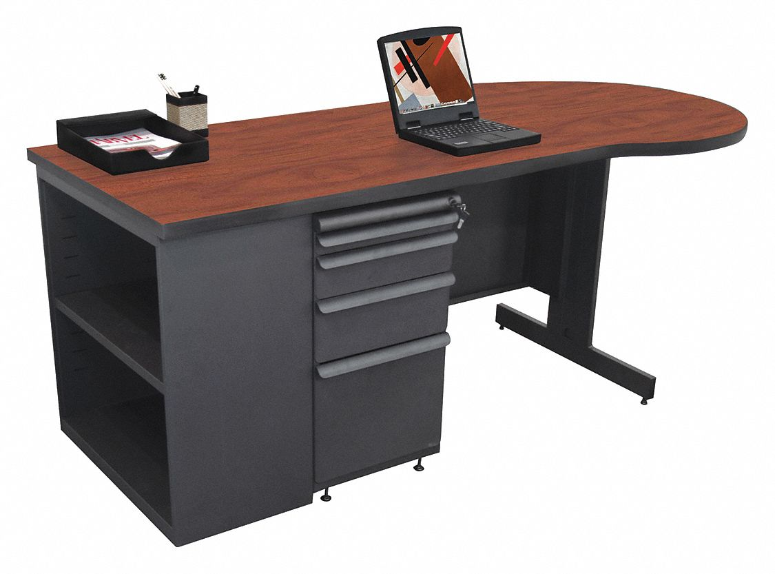 Office Desk, 75in.Wx30in.D, Charcoal Base