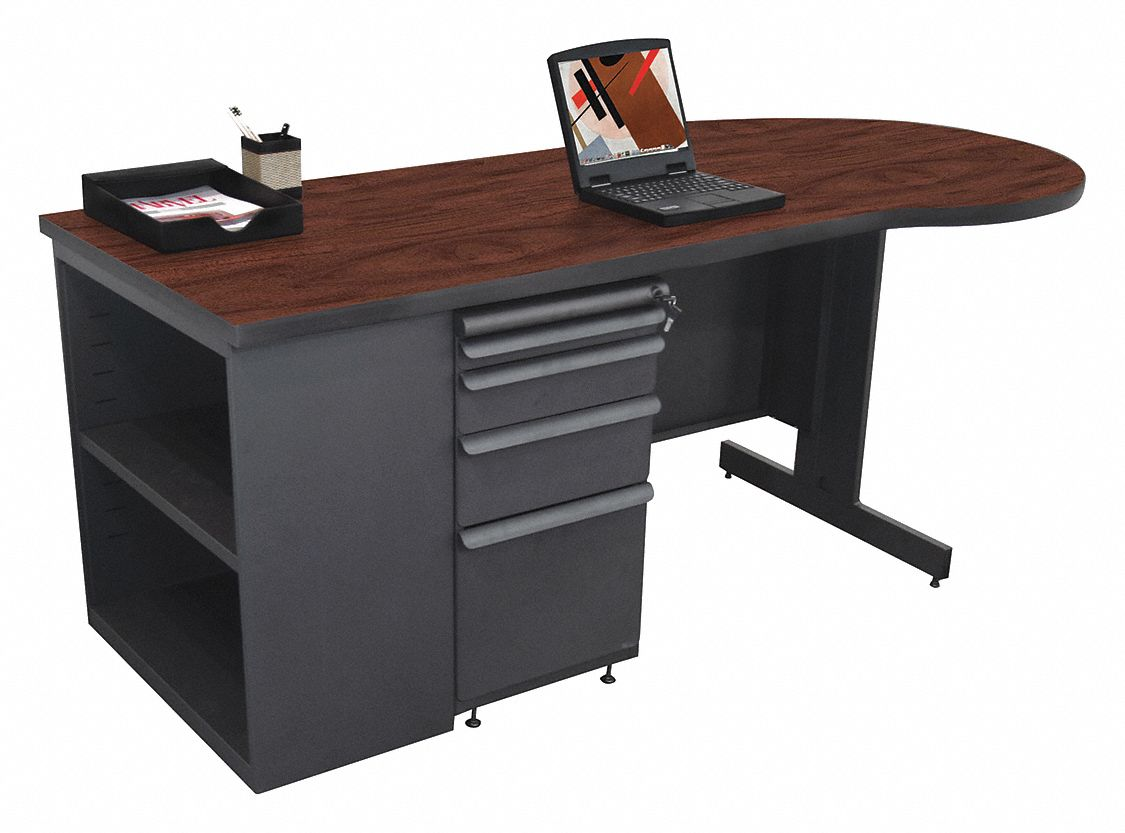 Desk, 75in.Wx30in.D, Mahogany Color Top