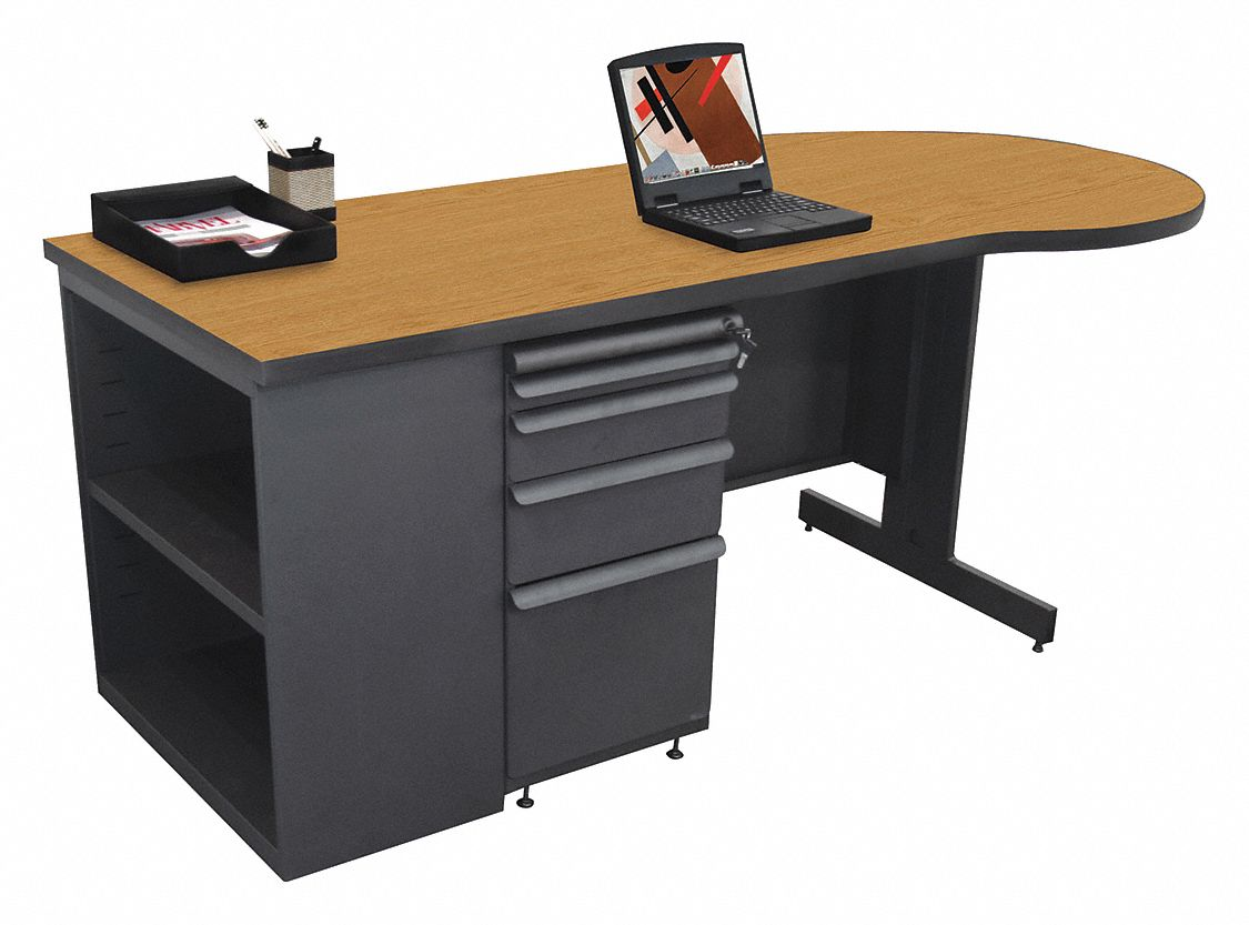Office Desk, 75in.Wx29in.H, Oak Color Top