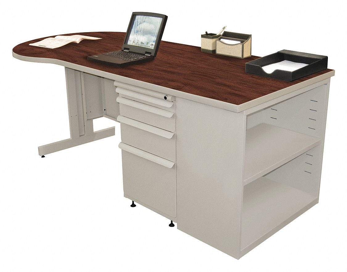 Office Desk, 75in.Wx30in.D, Mahogany Top