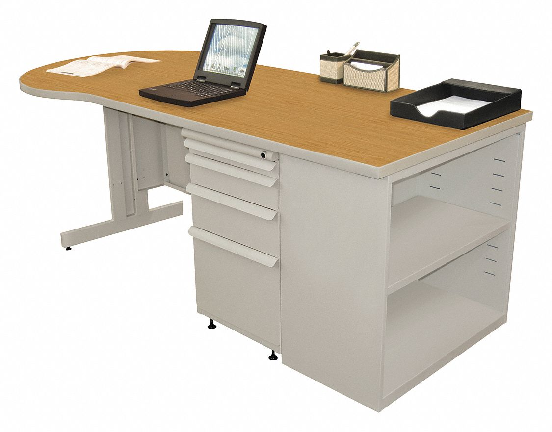 Office Desk, 75in.Wx30inDx29inH, Gray Base