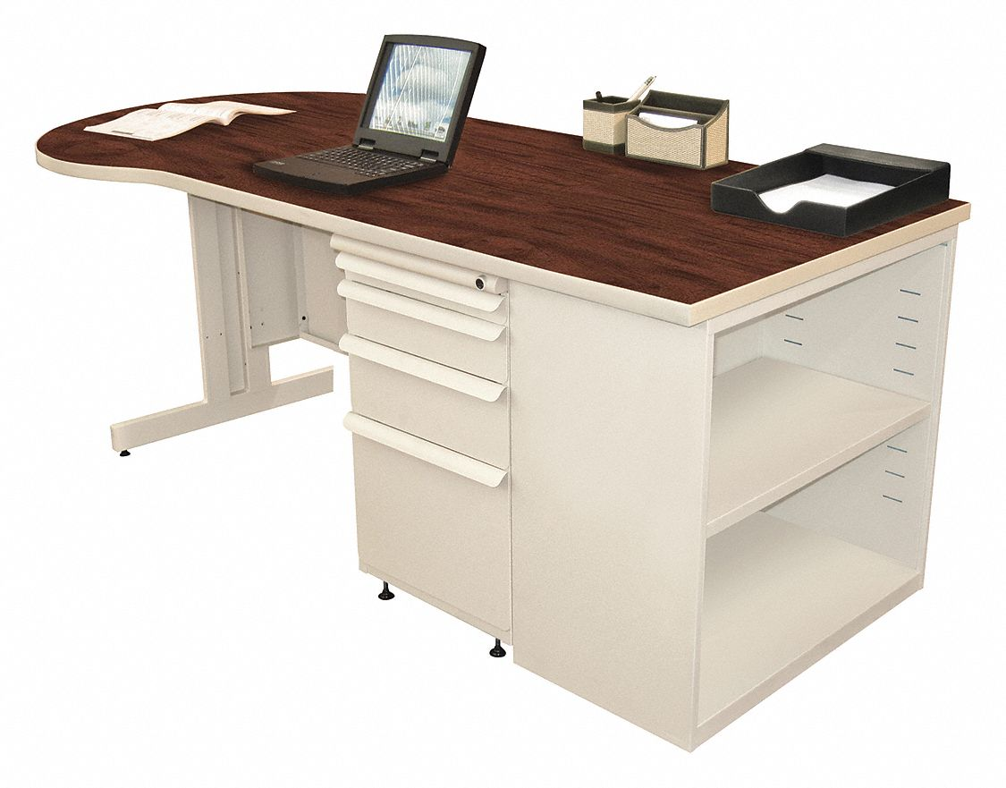 Office Desk, 75in.W, Mahogany Color Top